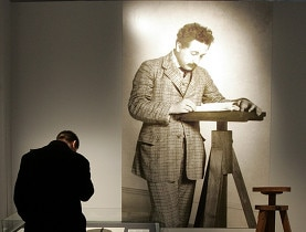 A visitor looks at Einstein's writings in the Einstein museum in Bern
