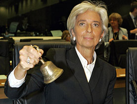 France's Finance Minister Christine Lagarde rings the bell to start the EU finance ministers meeting in Luxembourg