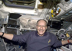 Claude Nicollier on board the space shuttle Discovery during the Hubble mission in 1999