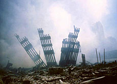 The remains of the World Trade Center following the September 11 attacks