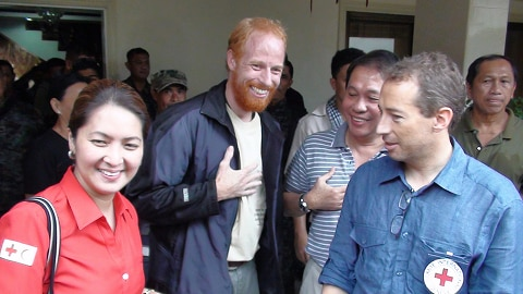 Swiss Red Cross worker Andreas Notter (centre) was freed from his Abu Sayyaf captors on the southern Philippines island of Jolo