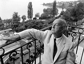 Vladimir Nabokov on the balcony of his Montreux hotel