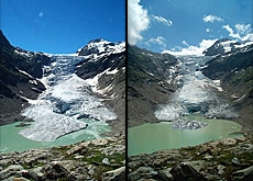 The Trift glacier lost 216 metres between 2004 (left) and 2005 (Federal Institute of Technology, Zurich)