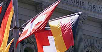 The flags are flying for the state visit of the German president, Johannes Rau, to Berne.