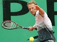 Marc Rosset in action in his first round match at the French Open in Paris