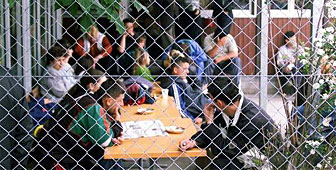Asylum seekers at a reception centre in Kreuzlingen one year ago