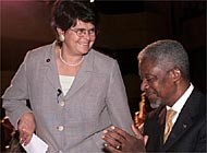 Ruth Dreifuss and Kofi Annan at the opening of the Geneva 2000 Forum