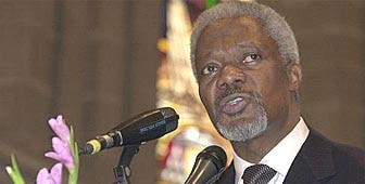 UN secretary general Kofi Annan speaks at a ceremony to mark the opening of the Geneva social summit