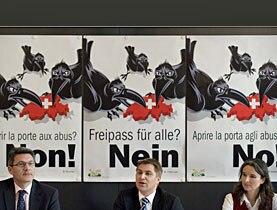 Party President Brunner (centre) fears for Switzerland's safety