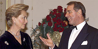 Queen Paola and the Swiss president, Adolf Ogi