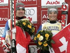 Gut (right) and Fanchini celebrate in St Moritz