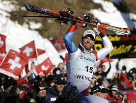 Didier Défago surrounded by fans after winning the men's downhill on the Lauberhorn piste in Wengen