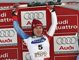 Switzerland's Fabienne Suter finished ahead of overall leader Lindsay Vonn of the United States, who tied for third on Friday