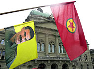 Kurds protest peacefully in Bern for the release of the separatist leader, Abdullah Ocalan, from a Turkish prison