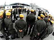 Swiss yellow berets at Sarajevo airport in Bosnia