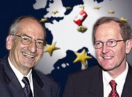 Pascal Couchepin (left) and Joseph Deiss outlined why Switzerland should not open immediate talks on EU membership