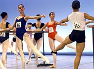 Teenage dancers competing for the Prix de Lausanne