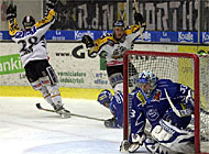 Lugano, in yellow, beat Ambri-Piotta 3-0 in front of a record home crowd