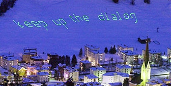 Email messages are being flashed up for all in Davos to see