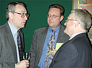 Christopher Hulse (left) talks to delegates attending the British-Swiss conference