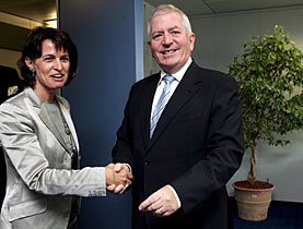 Leuthard is welcomed by EU Commissioner Charly McCreevy in Brussels
