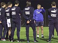Trossero directs a training session in Larnaca