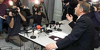 Adolf Ogi answers questions about his new role with the UN at a press conference in Bern on Wednesday