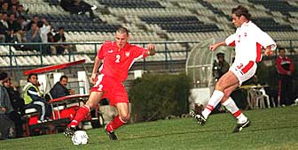 Switzerland (in white) in action against Poland in a friendly world cup warm-up match in Cyprus
