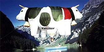 The famous Tilsit cow is a symbol of one of Switzerland's best known cheeses