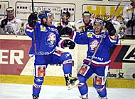 Zurich Lions players, Peter Jaks (left) and Mattia Baldi, celebrate their win over Rapperswil-Jona