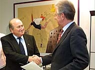 FIFA president Sepp Blatter (left) has finally reached agreement with the European Commission