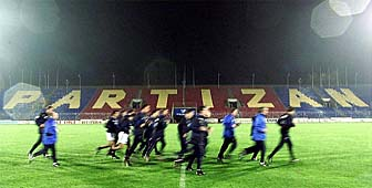 Trossero's men go through their final preparations in Belgrade's Partizan stadium