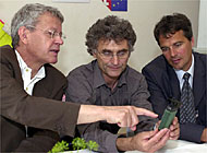 Secretary of state for science, Charles Kleiber (left), discusses the state of Swiss research