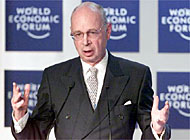 Klaus Schwab was prevented from speaking in Zurich by up to 100 anti-globalisation protesters