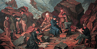 The painting shows Franz Joseph Hugi surrounded by his team of researchers (picture: Swiss Alpine Museum)