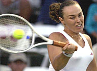In the second set, Hingis was given a hard time by Japan's Ai Sugiyama