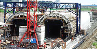 Construction work at one of the tunnels on the new railway line
