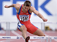 Alain Rohr takes on the 400m hurdles in the Athletics World Championships in Edmonton