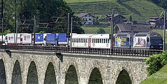 Five trains a day carry a maximum of 170 trucks across Switzerland in both directions