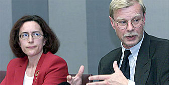 Dina Balleyguier, pictured here next to Peter Siegenthaler, has been appointed new head of the authority