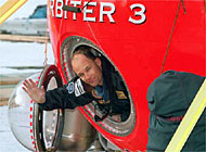 Bertrand Piccard in his balloon just before he started his journey in March 1999