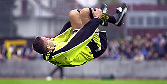 Young Boys player Johan Berisha somersaulting after the second goal against Lausanne