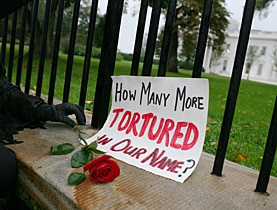 An anti-Bush protestor lays a red rose outside the White House in a symbolic act