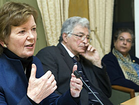 Mary Robinson, panel chair Arthur Chaskalson and Hina Jilani at the launch of the report