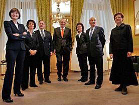 The Swiss cabinet welcomes new member Eveline Widmer-Schlumpf (third from right)