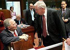 Justice Minister Christoph Blocher met with counterparts including Germany's Wolfgang Schäuble