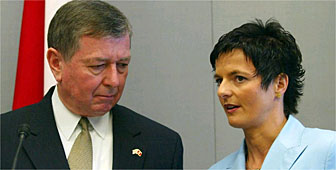 US attorney general, John Ashcroft, was in Bern for talks with the Swiss justice minister, Ruth Metzler