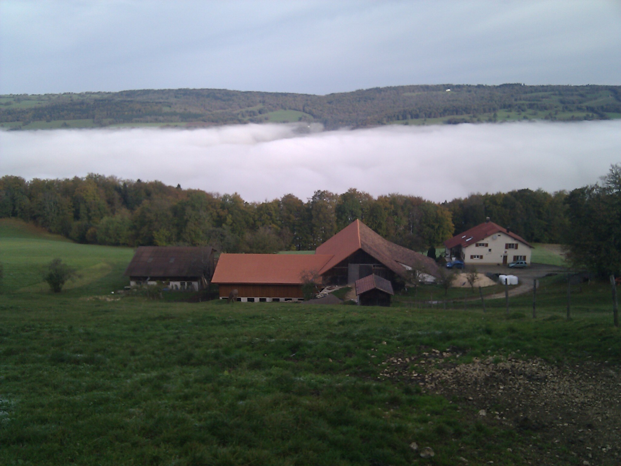 Early fog in the Doubs valley during our climb over the divide between the ends of the great bend.