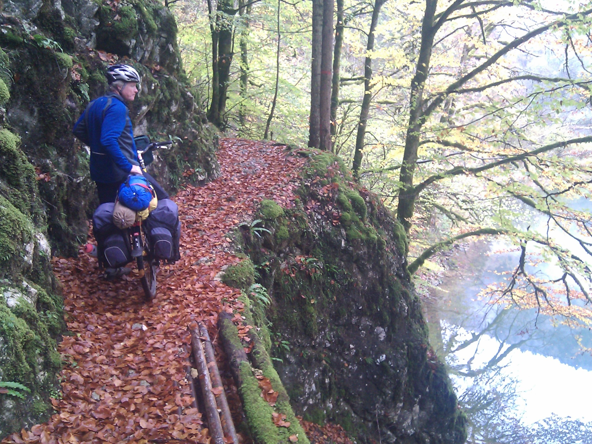 The trail on the Swiss side of the Doubs offered hundreds of hanging sections with cliffs above and below.