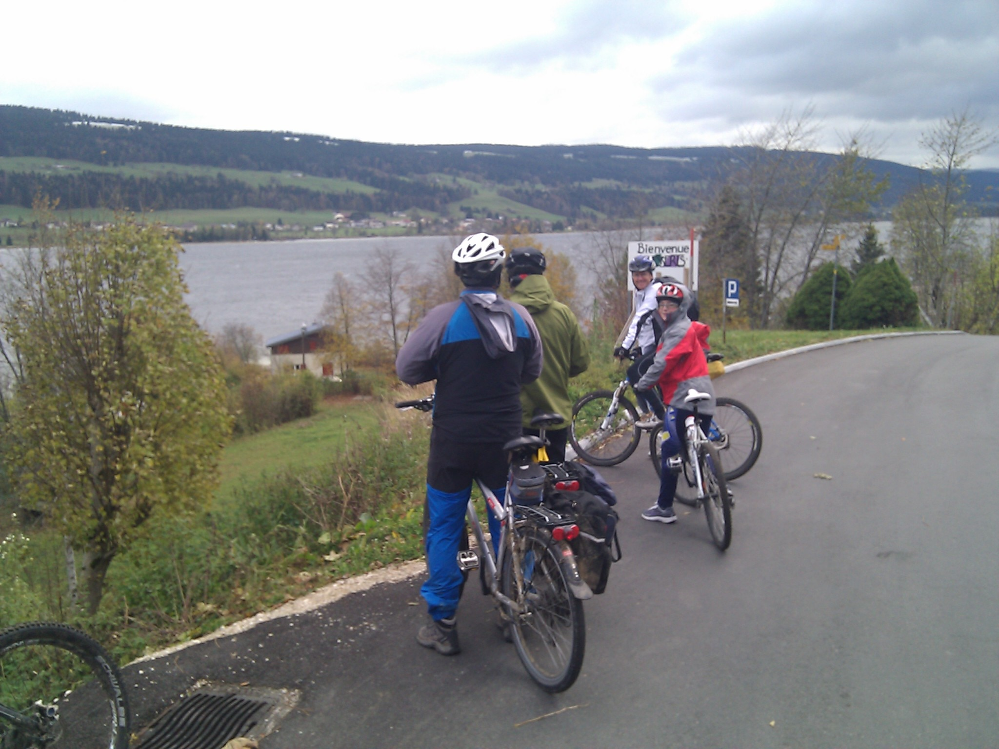 Stopping at an overlook near the shore of Lac de Joux.